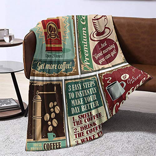 LanQiao Soft Blanket,1950s Decor Collection Coffee Posters and Metal Signs Artistic Design Bean Cup Tin Espresso Mug Cappuccino Logo,Family 60'x36'