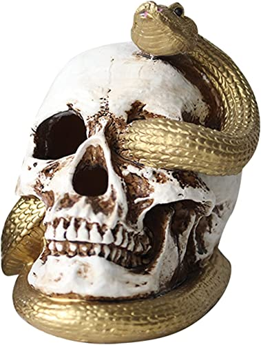 new arrival SegkopuoL Snake Skull outlet online sale outlet sale Figurine, Horror Glowing Human Skull Figurine, Resin Skull Model for Halloween Tabletop Home Decor (White) outlet sale