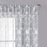 FMFUNCTEX White Grey Sheer Curtains for Living...