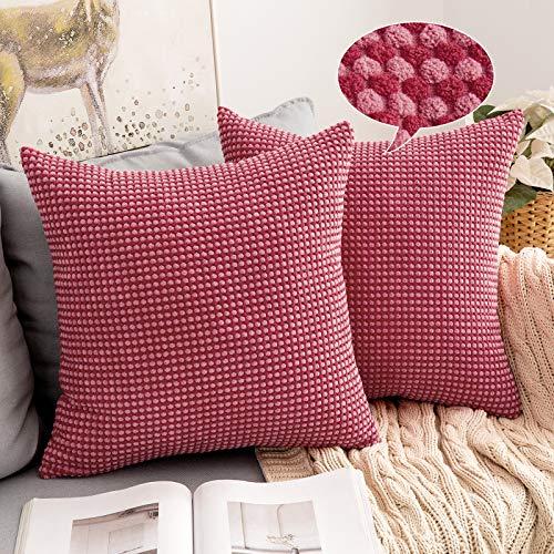 MIULEE 2er Set Granulat Kissenbezug Weiches Massiv Dekorativen Quadratisch Überwurf Kissenbezüge mit verstecktem Reißverschluss Kissen für Sofa Schlafzimmer Kinderzimmer 50x50cm Rot und Rosa