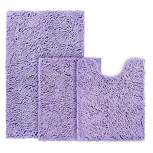 BYSURE Lavender Bathroom Rug Set 3 Piece Non Slip Extra Absorbent Shaggy Chenille Bathroom Rugs and Mats Sets, Soft & Dry Bath Rug/Mat Sets for Bathroom Washable Carpets Set