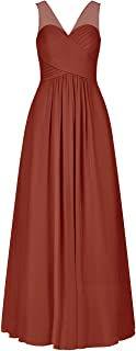 V-Neck Chiffon Bridesmaid Dresses Long Evening Formal Gowns Wedding Party Prom Dress