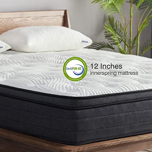 Sweetnight King Mattress in a Box - 12 Inch Plush Pillow Top Hybrid Mattress, Gel