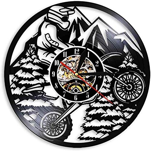 mbbvv Motorcycle Mountain Rider Extreme Cycling Racing BMX Wall Clock Motorcycle Cross Country Motorcycle Cross Country Bike LED Vinyl Record Wall Clock Gift