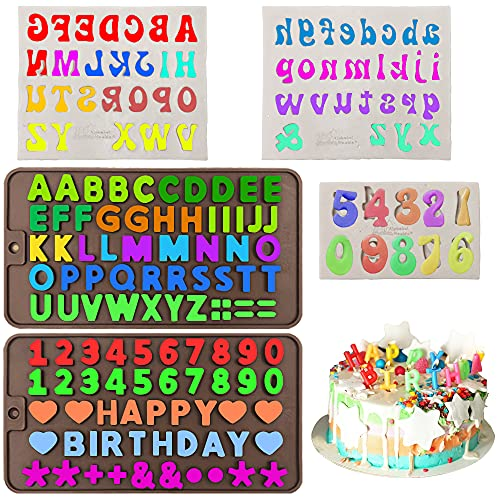 5 moldes de silicona para dulces de AIFUDA con números de letras de silicona con símbolos de decoración de pasteles de feliz cumpleaños para galletas de bricolaje, chocolate, caramelos, gelatina