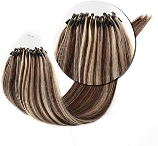 Micro Loop Hair Extensions 50s Medium Brown Mix Blonde 4/613 Micro Rings Hair 1g/s 50g Per Pack Bead Extensions 24 Inches