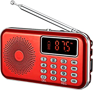 YMDJL Portable Mini USB FM Radio Speaker Music MP3 Player with AUX Input USB Disk TF Card No AM(Red)