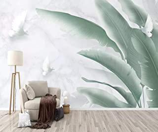 Wallpaper 3D Simple Marble Hand Painted Tropical Leaves Fresh Modern Custom Photo Wallpaper Murals Wall Decor