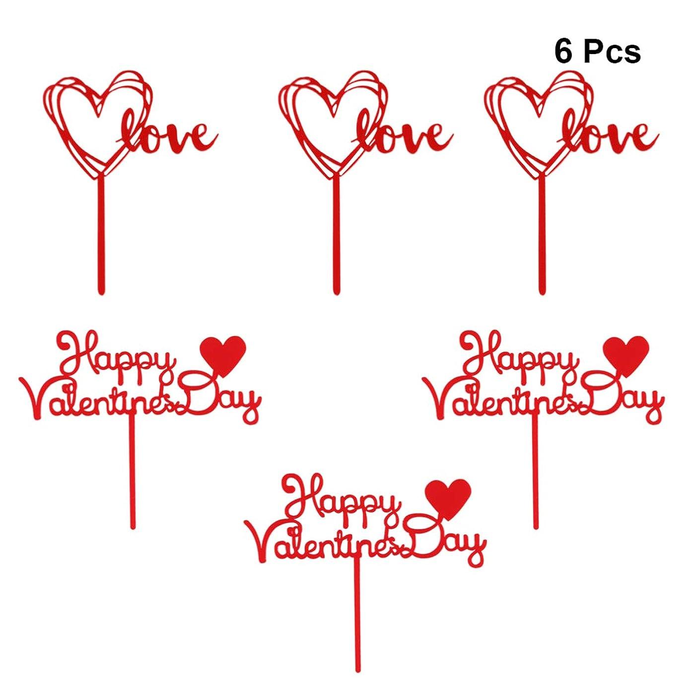 妻圧縮する毛皮Amosfun 6ピースバレンタインデーケーキトッパーハッピーバレンタインデーアクリルラブケーキトッパーケーキデコレーションパーティー用品カップケーキ装飾用ホームパーティーフェスティバル