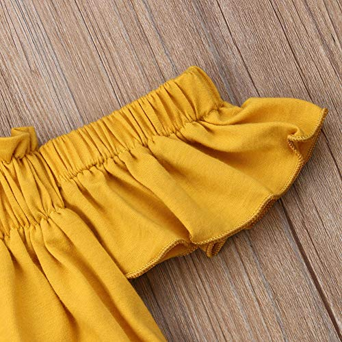 Toddler Baby Girl Clothes Off Shoulder Tube Top Shirt Bell Bottom Jeans Pants Summer Outfits (Yellow top, 4-5T)