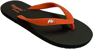 fipper Slipper Comfy Rubber Thongs Mens Sizes Black-Orange 9UK 10US