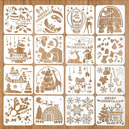 16 Stück Weihnachten Schablonen, Zeichenschablonen Malschablonen aus Kunststoff,Stencil Schablonen Wiederverwendbar für Scrapbooking Fotoalbum,DIY Geschenkkarten,Geschenke Weihnachten Kinder