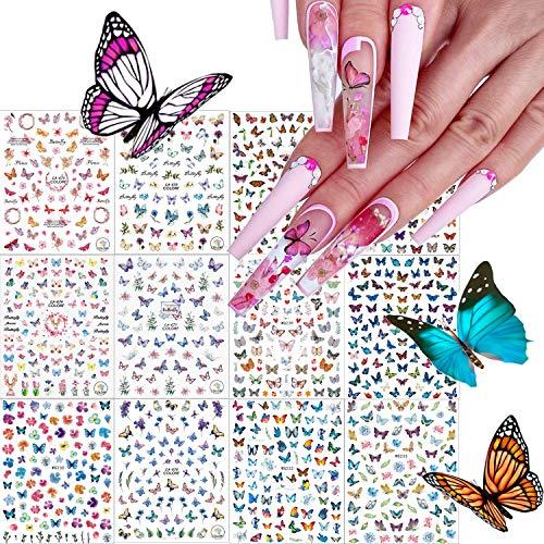 Kalolary 12pcs Mariposa Pegatina de Uñas, 3D Pegatina Calcomanías Autoadhesiva de Uñas Tatuaje para Mujer Manicura Bricolaje