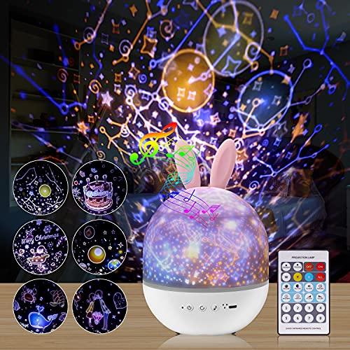 GOOJODOQ Proiettore Stelle Bambini,360 ° Musica Rotazione LED Luce Notte Bambini con Telecomando USB Lampada Proiettore con 8 Canzoni e 6 Pellicole