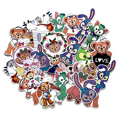 LMY Pegatinas de dibujos animados japoneses Ins Duffy Oso Amigo Personalizado Rotos Vc Impermeable Graffiti Pegatinas Teléfono Móvil Ordenador Agua Copa Guitarra Casco Decoración Etiqueta 30pcs
