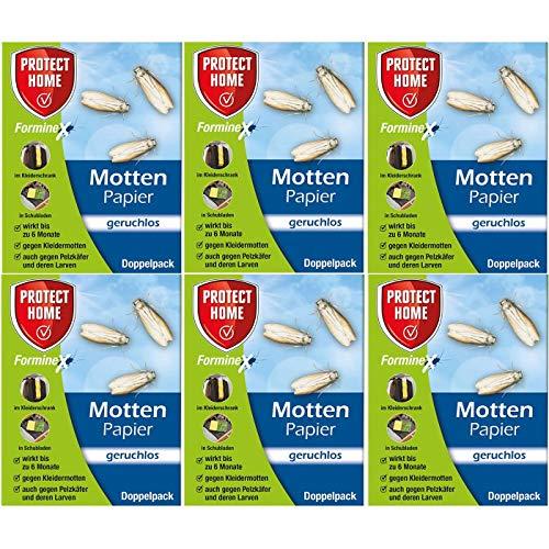 PROTECT HOME Forminex Mottenpapier - geruchlos - 6 x Doppelpack für Textilien UVM