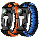 Paracord Survival Bracelet 2 Pack Tactical Survival Gears - Flint Fire Starter, Whistle, Compass and Scraper Personal Survival Kit for Hunting Camping Fishing and More