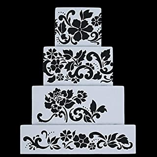 Fondant Cake Decorating Stencil Royal Icing Template for 4 Layers' Cake 4pcs/set