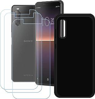 YZKJ fodral för Sony Xperia 1 II skydd svart silikon skyddande skal TPU skal skal 3 stycken pansarglas skärmskydd skyddsfi...