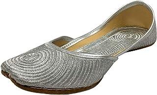 Stop n Style Ladies Silver Zari Work Mojari Punjabi Jutti Handmade Khussa Bridal Silver Jutti