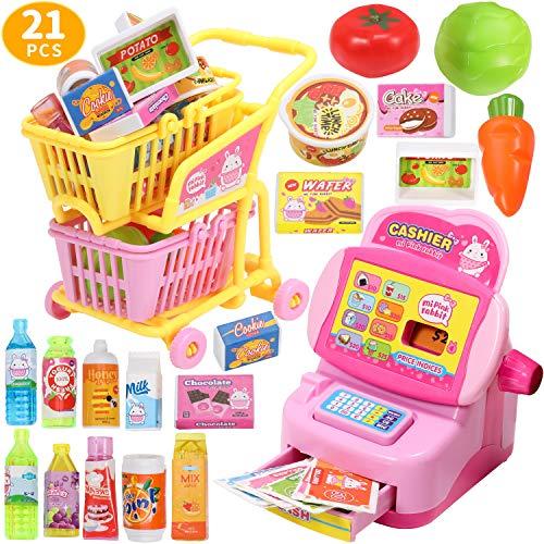 Geyiie Supermarktkasse Kaufladen Zubehör mit Registrierkasse, Einkaufswagen, Obst, Gemüse, Getränke Lebensmittel Set Lernspiel Rollenspiel Spielzeug für Kinder ab 3 Jahre