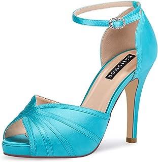 ERIJUNOR Women's High Heel Sandals Ankle Strap Satin Evening Party Prom Wedding Shoes