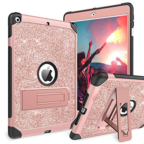 BENTOBEN iPad 7th Generation Case, New iPad 10.2 2019 Case, Glitter Sparkly 3 Layers Heavy Duty Shockproof Kickstand Sturdy Leather Protective Tablet Cover for Apple iPad 10.2 Inch 2019, Rose Gold
