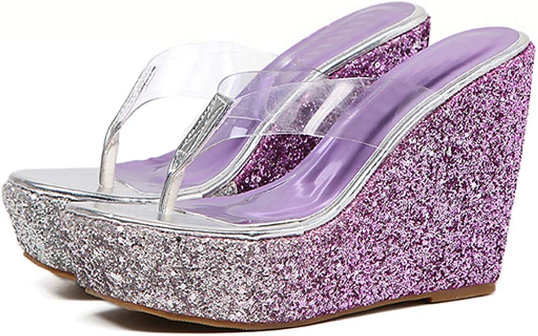 Women's Clear Thong Flip Flops Wedges High Heels Platform Slides Sandals Open Toe Slip on Cork Bling shoes