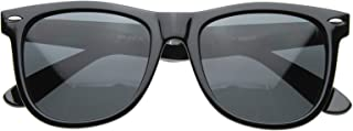 Polarized Vintage 80's Retro Classic Horn Rimmed Style Unisex Sunglasses - Charcoal Black