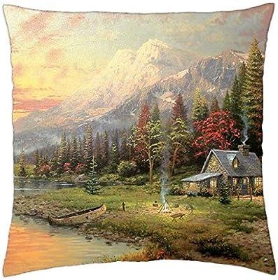 Thomas Kinkade Rainy man Pillow Cover Case 18 x 18