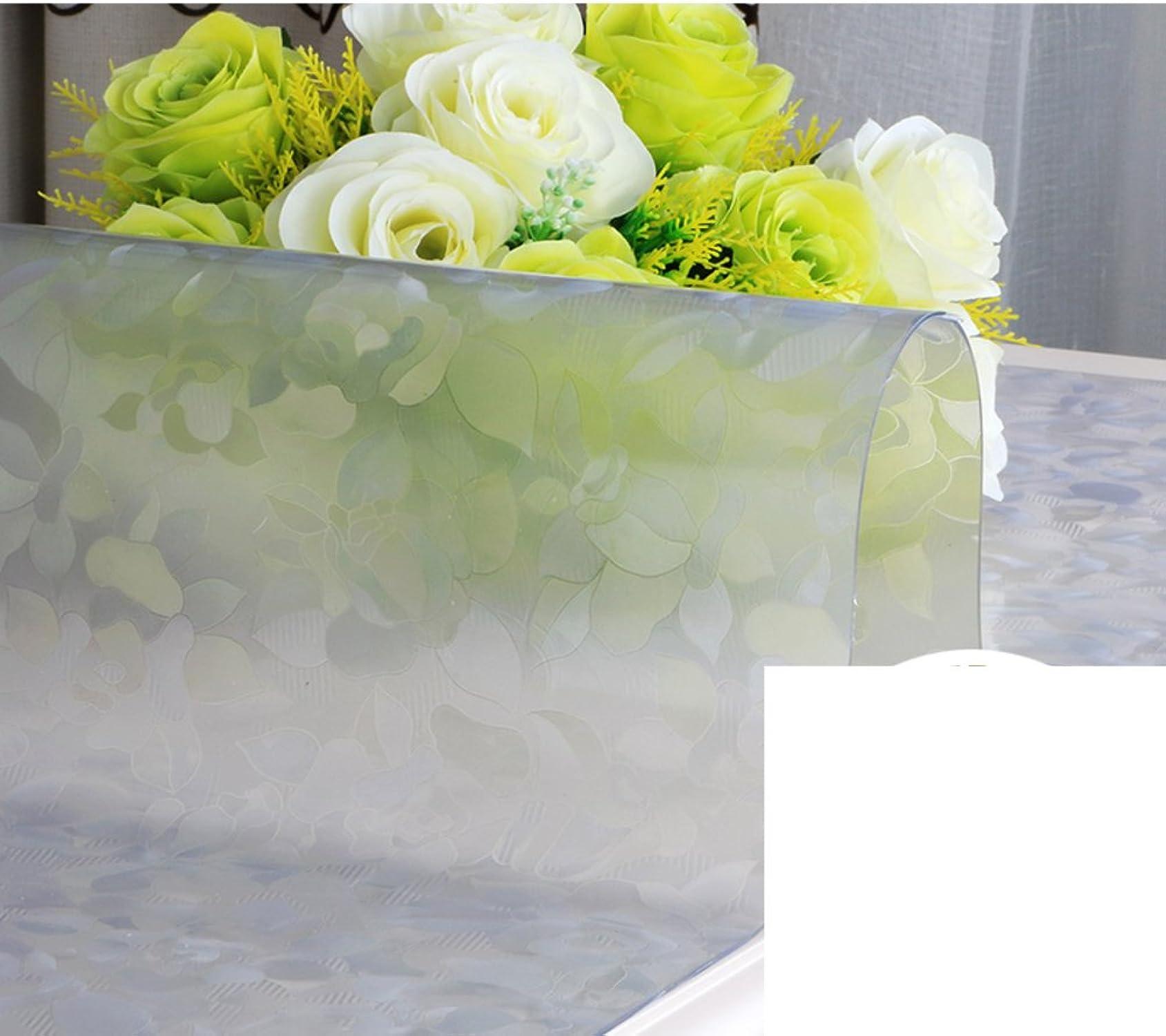 QT PVC épais Verre Mou Nappe Hot Jetable étanche Transparent Napperon Tapis De Table à Thé-B 90x140cm(35x55inch)