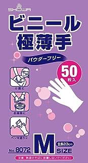 ショーワグローブ 【使いきり手袋】 No.8072 ビニール極薄手 50枚入 Mサイズ 1函