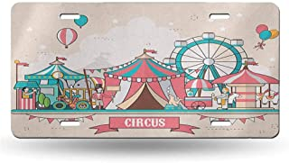 dsdsgog License Plate Circus,Circus Facilities Scenery in Flat Design Style Balloons Children Park Illustration, Multicolor 12x6 inches,Official Licensed