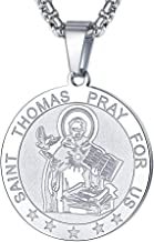 FaithHeart Saint Christopher/Joseph/Anthony/Thomas/Paul Necklace Bracelet Stainless Steel Catholic Patron Saints Medal Jewelry, Traveler Medallion Blessings Gift Customize Available (Send Gift Box)