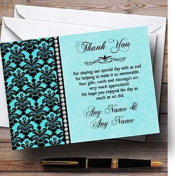Aqua Sky Blue Black Damask /& Diamond Personalized Wedding Thank You Cards