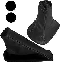 AERZETIX: Funda para palanca de cambios y freno de mano 100% PIEL GENUINA negro con costuras negro
