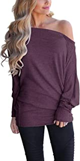 Sunm boutique Women's Off Shoulder Loose Pullover Sweater Fashion Sleeve Knit Jumper Oversized Tunics Top