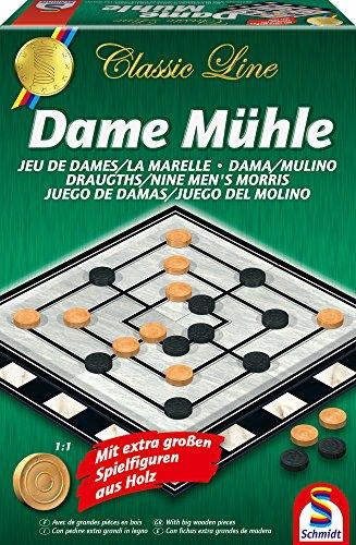 Schmidt Spiele 49083 Classic Line: Dame / Mühle (gr.Spielfiguren)