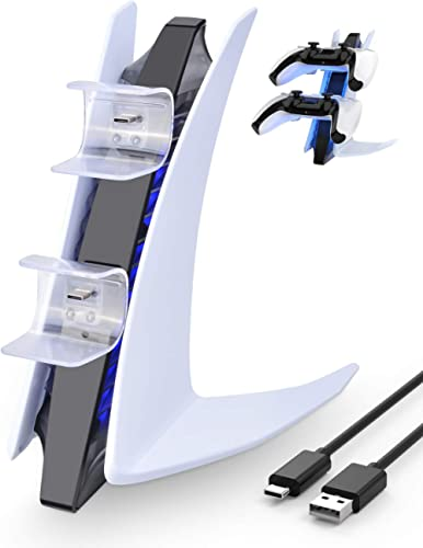 BlueFire Chargeur Manette PS5, Double USB-C Station de Chargement avec Indicateur LED Compatible pour Manette Playsta...