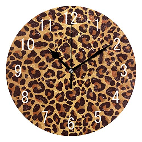 ALAZA Home Decor Brown Animal Leopard Print Round Acrylic 9.5 Inch Wall Clock Non Ticking Silent Clock Art for Living Room Kitchen Bedroom