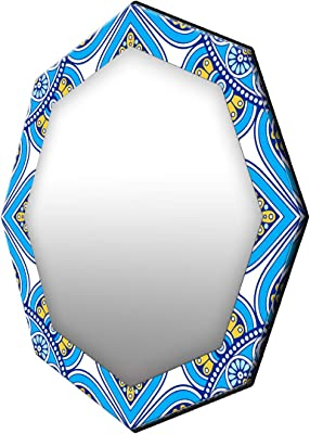 999Store Printed Blue and Yellow Pattern Octagon Mirror (MDF_24X24 Inch_Multi)