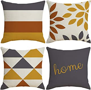 MENGT Set of 4 Modern Geometric Yellow and Gray Decorative Outdoor Throw Pillow Covers 18''x18'' Square Soft Cotton Linen, Home Decor Cushion Cover Pillowcases for Sofa Bedroom Chair Bed
