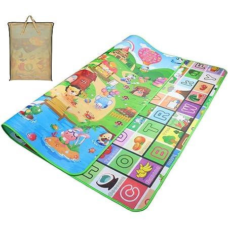 Animali Tappetino Gioco con Tappetini Ripiegabile per Bambini Gioco Doppia Faccia Impermeabile GrandeAlfabeto per Casa e All 'aperto
