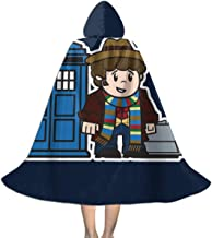 Mitesized Doctor Who 4th Tom Baker Tardis Unisex Kids Hooded Cloak Cape Halloween Xmas Party Decoration Role Cosplay Costumes Black
