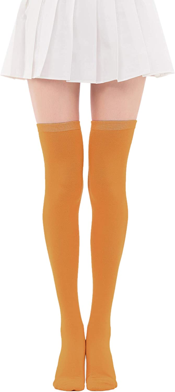 Women's Casual Over Knee High Socks Solid Knit Cosplay Thigh High Stockings