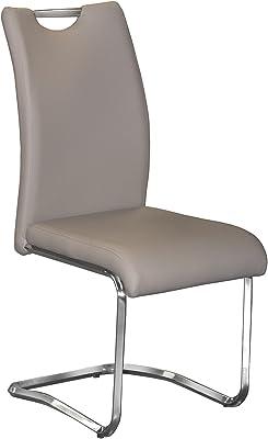 DonRegaloWeb - Set de 4 sillas de metal y polipiel en color cromado y beige