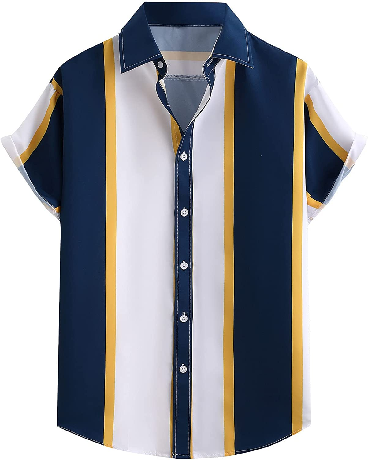 Mens top Men's Colorful Stripe Shirts Summer Short Sleeve Casual Loose Buttons Tee