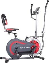 Body Power BRT5088 Trio Trainer Machine 3 in 1 Elliptical Trainer Upright Bike and Recumbent Bike, Encased Flywheel
