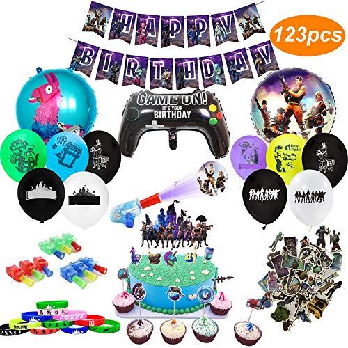 veeyiki Artículos de Fiestas para Fanáticos de los Videojuegos 123PCS Decoraciones para Cumpleaños de Tema de Videojuegos con Globos Pancartas Pulseras Luces de Dedo Pegatinas Adornos para Pasteles