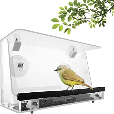 CM Window Bird Feeder Outdoor Birdfeeder Outside Birdhouse Kits for Seeing Wild Bird, Finch, Cardinal and Chickadee, Transparent Clear Acrylic with Seed Tray and Suction Cups